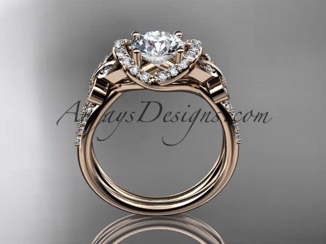 "14kt rose gold diamond butterfly wedding ring, engagement ring with a ""Forever One"" Moissanite center stone ADLR141 - AnjaysDesigns"