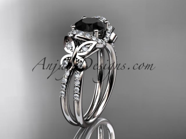 platinum diamond butterfly wedding ring, engagement ring with a Black Diamond center stone ADLR141 - AnjaysDesigns