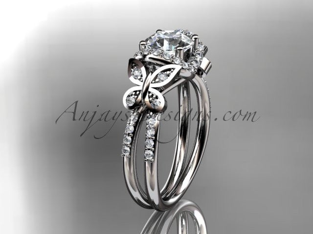 "14kt white gold diamond butterfly wedding ring, engagement ring with a ""Forever One"" Moissanite center stone ADLR141 - AnjaysDesigns"