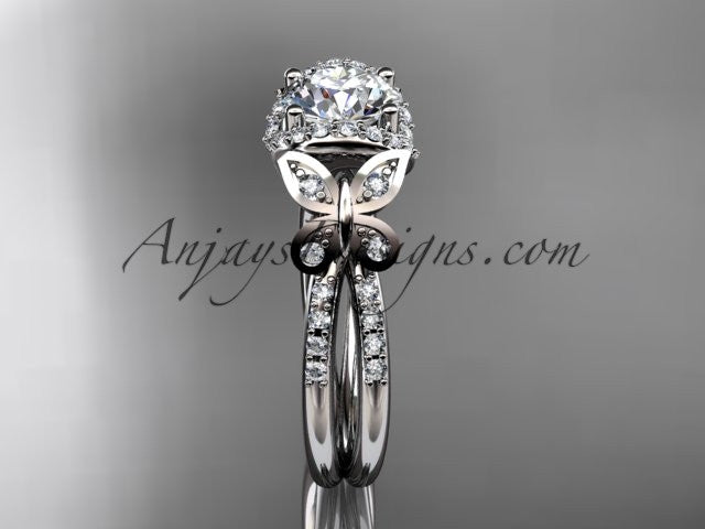 14kt white gold diamond butterfly wedding ring, engagement ring ADLR141 - AnjaysDesigns