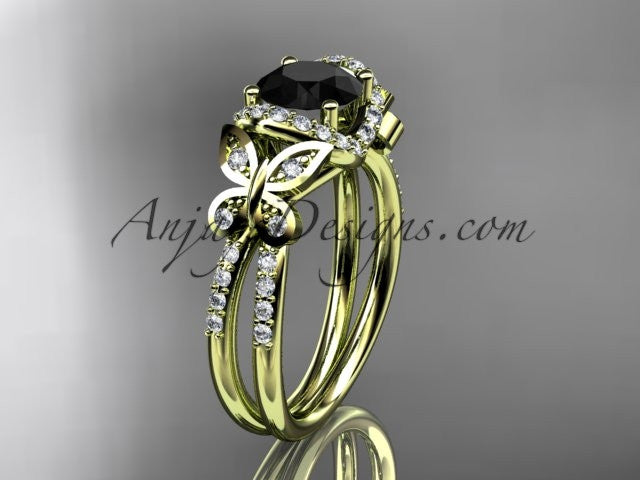14kt yellow gold diamond butterfly wedding ring, engagement ring with a Black Diamond center stone ADLR141 - AnjaysDesigns