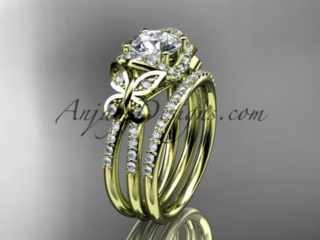 14kt yellow gold diamond butterfly wedding ring, engagement set ADLR141S - AnjaysDesigns