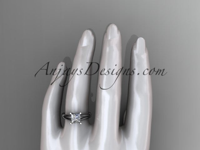 "14kt white gold unique engagement ring, wedding ring, solitaire ring with a ""Forever One"" Moissanite center stone ADER143 - AnjaysDesigns"