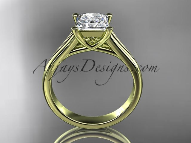 "14kt yellow gold unique engagement ring, wedding ring, solitaire ring with a ""Forever One"" Moissanite center stone ADER143 - AnjaysDesigns"