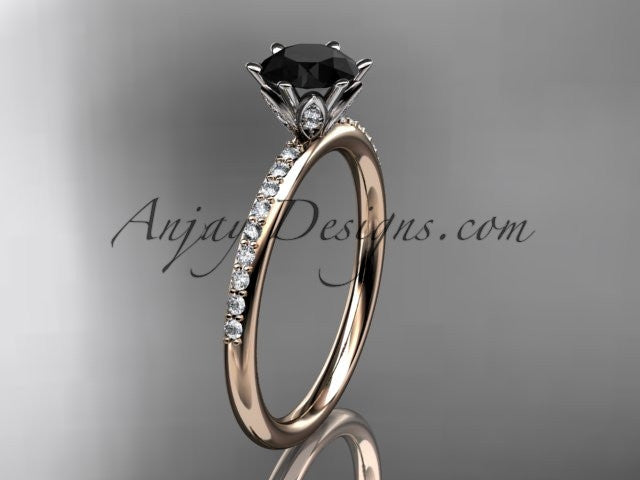 14kt rose gold diamond unique engagement ring, wedding ring with a Black Diamond center stone ADER145 - AnjaysDesigns
