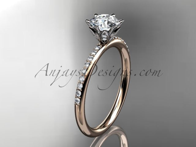 14kt rose gold diamond unique engagement ring, wedding ring ADER145 - AnjaysDesigns