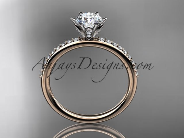 "14kt rose gold diamond unique engagement ring, wedding ring with a ""Forever One"" Moissanite center stone ADER145 - AnjaysDesigns"