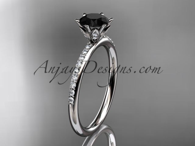 platinum diamond unique engagement ring, wedding ring with a Black Diamond center stone ADER145 - AnjaysDesigns