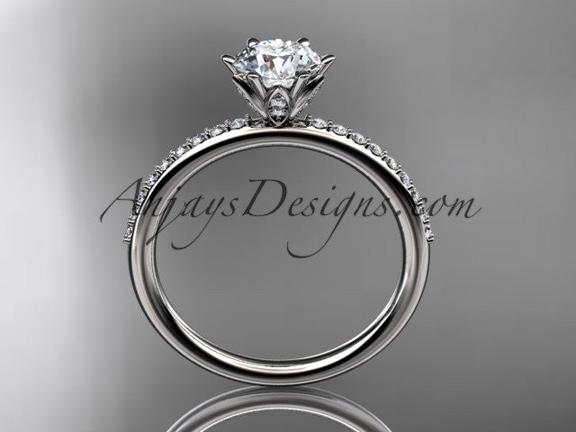 "Platinum diamond unique engagement ring, wedding ring with a ""Forever One"" Moissanite center stone ADER145 - AnjaysDesigns"