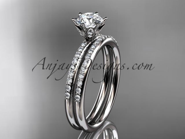 14kt white gold diamond unique engagement set, wedding set ADER145 - AnjaysDesigns