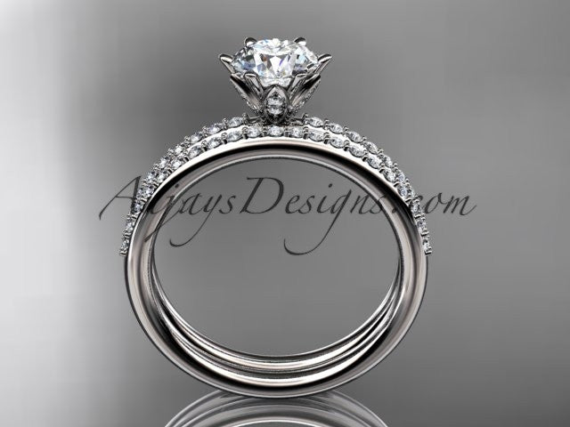 "14kt white gold diamond unique engagement set, wedding ring with a ""Forever One"" Moissanite center stone ADER145S - AnjaysDesigns"
