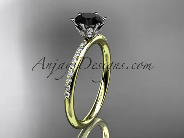 14kt yellow gold diamond unique engagement ring, wedding ring with a Black Diamond center stone ADER145 - AnjaysDesigns