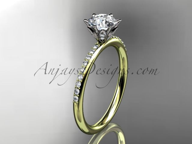 14kt yellow gold diamond unique engagement ring, wedding ring ADER145 - AnjaysDesigns
