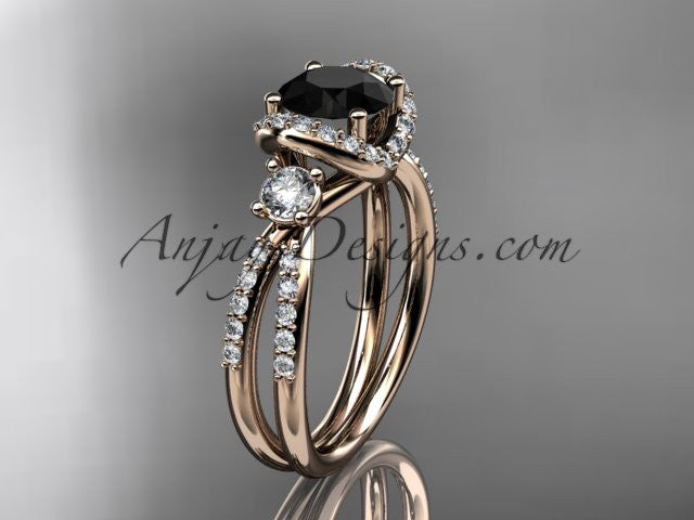 14kt rose gold diamond unique engagement ring, wedding ring with a Black Diamond center stone ADER146 - AnjaysDesigns