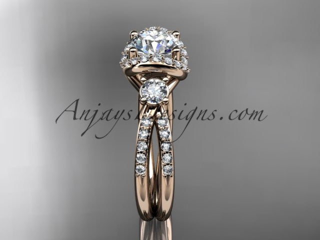 14kt rose gold diamond unique engagement ring,wedding ring ADER146 - AnjaysDesigns
