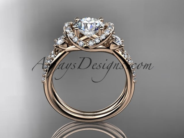 "14kt rose gold diamond unique engagement ring, wedding ring with a ""Forever One"" Moissanite center stone ADER146 - AnjaysDesigns"