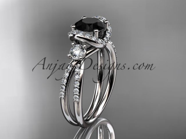 14kt white gold diamond unique engagement ring, wedding ring with a Black Diamond center stone ADER146 - AnjaysDesigns