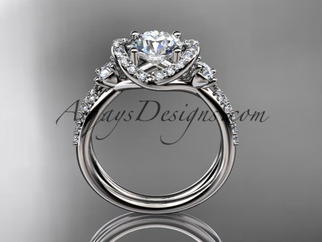 14kt white gold diamond unique engagement ring, wedding ring ADER146 - AnjaysDesigns