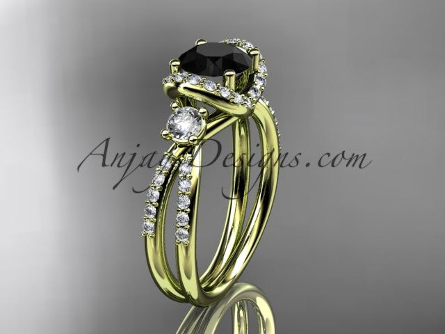 14kt yellow gold diamond unique engagement ring, wedding ring with a Black Diamond center stone ADER146 - AnjaysDesigns