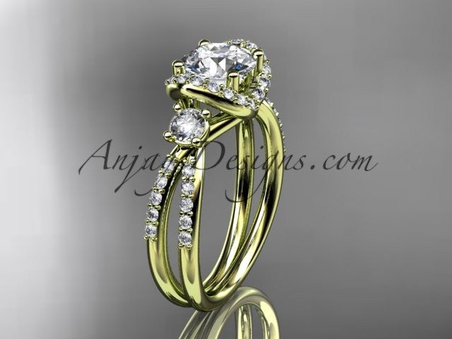 14kt yellow gold diamond unique engagement ring, wedding ring ADER146 - AnjaysDesigns