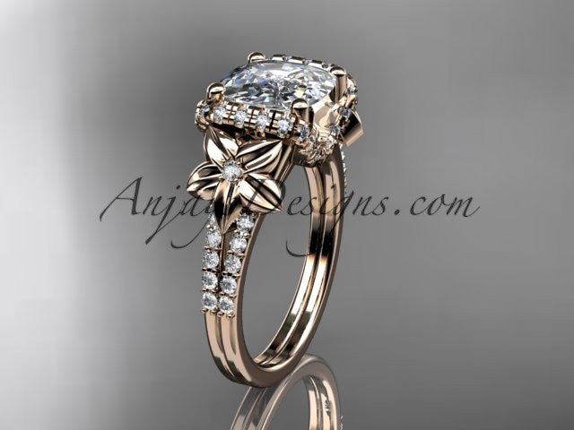 14kt rose gold diamond floral wedding ring, engagement ring with cushion cut moissanite ADLR148 - AnjaysDesigns