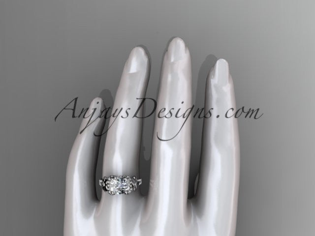 14kt white gold diamond floral wedding ring, engagement ring with cushion cut moissanite ADLR148 - AnjaysDesigns