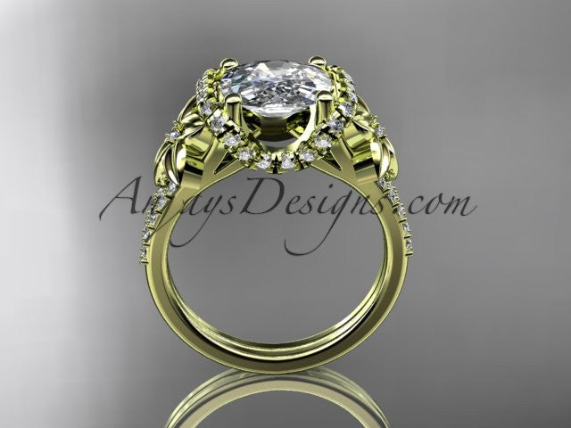 14kt yellow gold diamond floral wedding ring, engagement ring with cushion cut moissanite ADLR148 - AnjaysDesigns