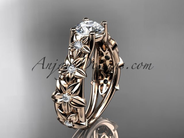 14kt rose gold diamond floral wedding ring, engagement ring ADLR149 - AnjaysDesigns
