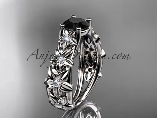 14kt white gold diamond floral wedding ring, engagement ring with a Black Diamond center stone ADLR149 - AnjaysDesigns