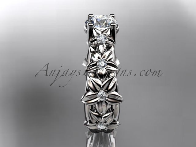 14kt white gold diamond floral wedding ring, engagement ring ADLR149 - AnjaysDesigns