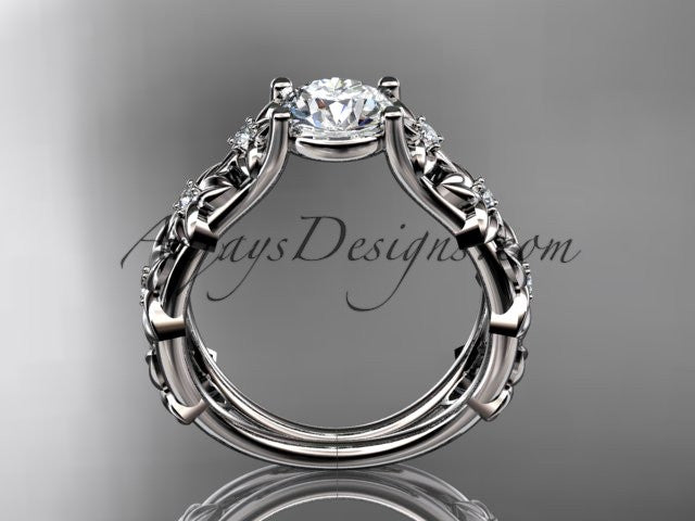"Platinum diamond floral wedding ring, engagement ring with a ""Forever One"" Moissanite center stone ADLR149 - AnjaysDesigns"