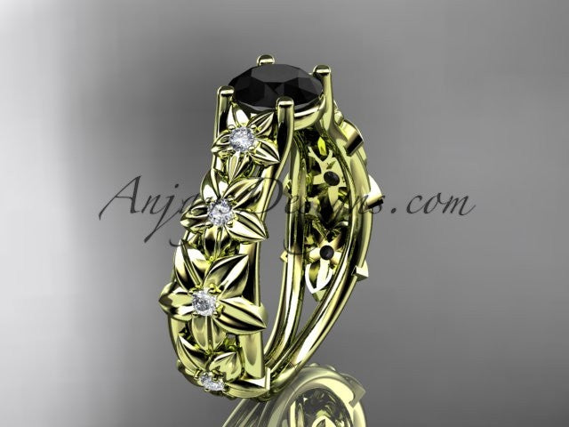 14kt yellow gold diamond floral wedding ring, engagement ring with a Black Diamond center stone ADLR149 - AnjaysDesigns