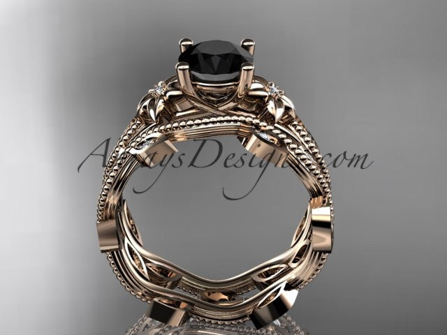 14k rose gold diamond leaf and vine wedding ring, engagement ring, engagement set with a Black Diamond center stone ADLR151S - AnjaysDesigns, Black Diamond Engagement Sets - Jewelry, Anjays Designs - AnjaysDesigns, AnjaysDesigns - AnjaysDesigns.co,