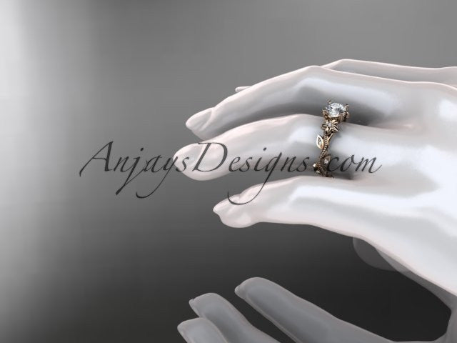 14kt rose gold diamond leaf and vine wedding ring, engagement ring. ADLR151. nature inspired jewelry - AnjaysDesigns