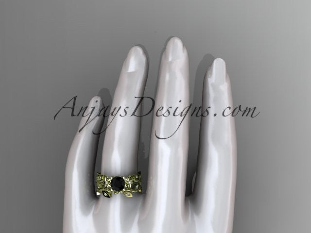 14k yellow gold diamond leaf and vine wedding ring, engagement ring, engagement set with a Black Diamond center stone ADLR151S - AnjaysDesigns