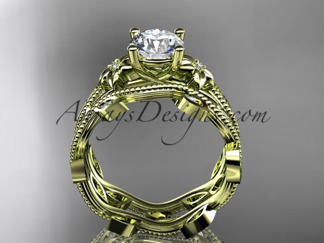 "14k yellow gold diamond leaf and vine wedding ring, engagement ring, engagement set with a ""Forever One"" Moissanite center stone ADLR151S - AnjaysDesigns"