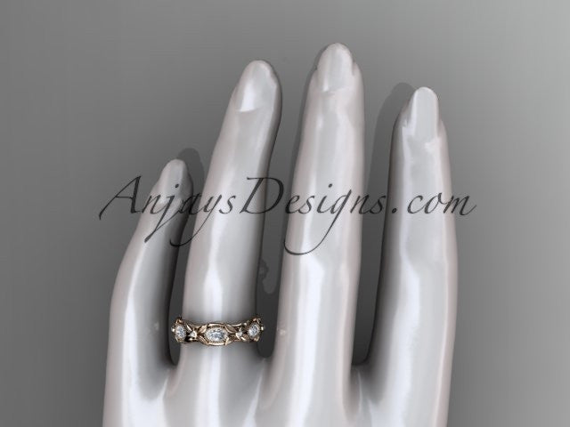 14kt rose gold diamond leaf and vine wedding ring,engagement ring. ADLR152. Nature inspired jewelry - AnjaysDesigns