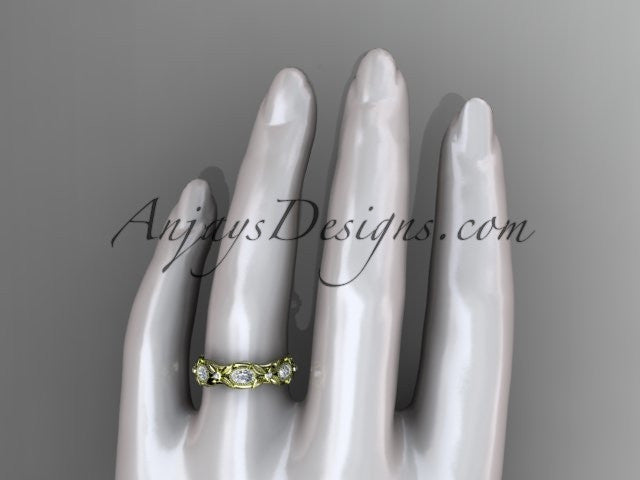 14kt yellow gold diamond leaf and vine wedding ring, engagement ring. ADLR152. Nature inspired jewelry - AnjaysDesigns