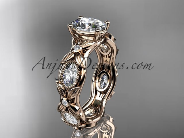 "14kt rose gold diamond leaf and vine wedding ring, engagement ring with a ""Forever One"" Moissanite center stone ADLR152 - AnjaysDesigns"