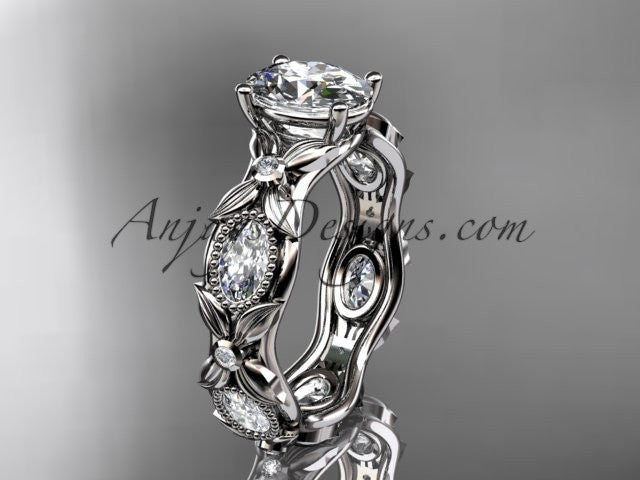 "14kt white gold diamond leaf and vine wedding ring, engagement ring with a ""Forever One"" Moissanite center stone ADLR152 - AnjaysDesigns"