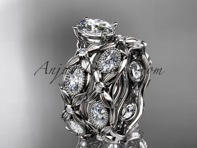 "14kt white gold diamond leaf and vine wedding ring, engagement set with a ""Forever One"" Moissanite center stone ADLR152S - AnjaysDesigns"