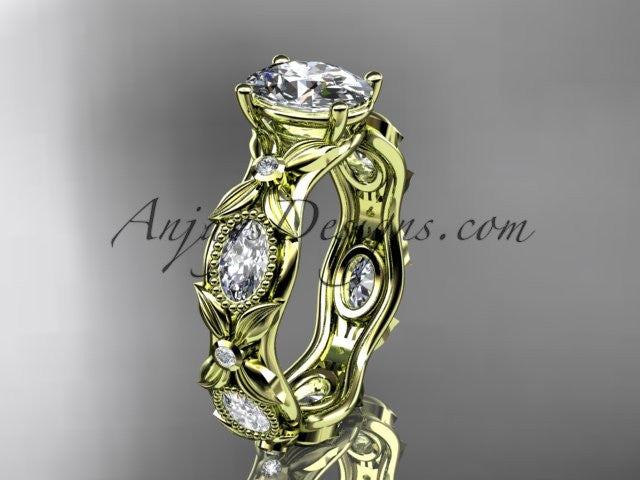 "14kt yellow gold diamond leaf and vine wedding ring, engagement ring with a ""Forever One"" Moissanite center stone ADLR152 - AnjaysDesigns"