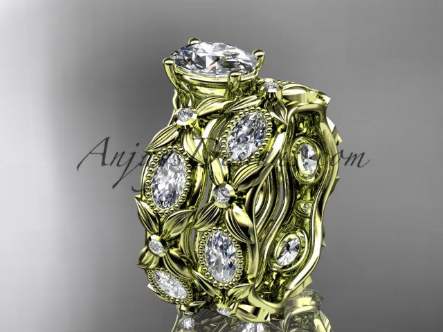"14kt yellow gold diamond leaf and vine wedding ring, engagement set with a ""Forever One"" Moissanite center stone ADLR152S - AnjaysDesigns"