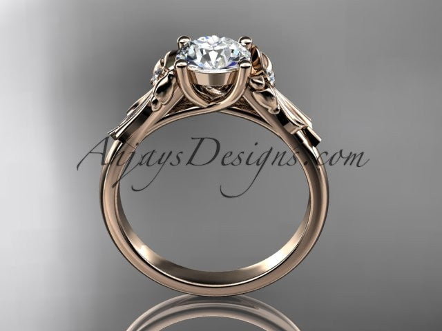 "14kt rose gold diamond unique engagement ring, wedding ring with a ""Forever One"" Moissanite center stone ADER154 - AnjaysDesigns"