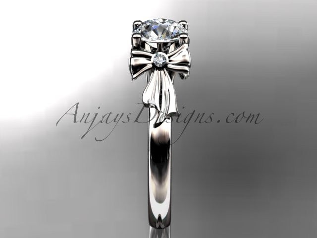 "Platinum diamond unique engagement ring, wedding ring with a ""Forever One"" Moissanite center stone ADER154 - AnjaysDesigns"