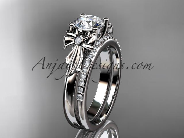 14kt white gold diamond unique engagement set, wedding ring ADER154S - AnjaysDesigns