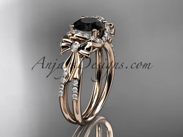 14kt rose gold diamond unique engagement ring, bow ring, wedding ring with a Black Diamond center stone ADER155 - AnjaysDesigns