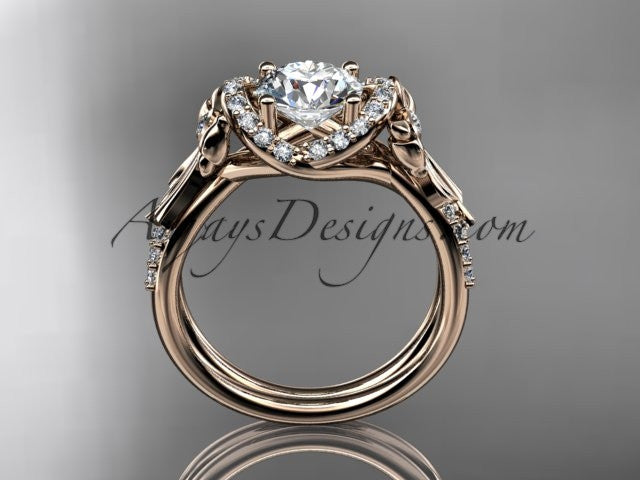 14kt rose gold diamond unique engagement ring, wedding ring ADER155 - AnjaysDesigns
