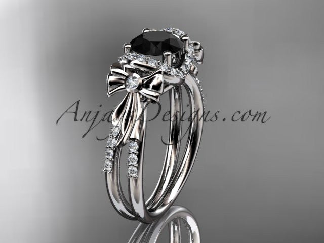 14kt white gold diamond unique engagement ring, bow ring, wedding ring with a Black Diamond center stone ADER155 - AnjaysDesigns