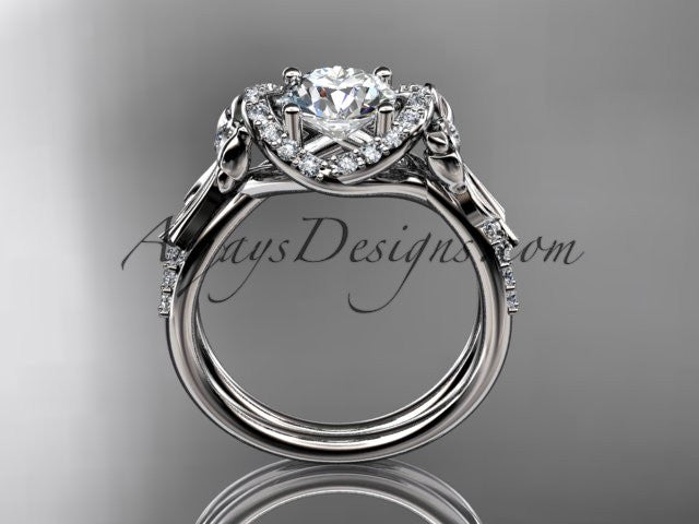 platinum diamond unique engagement ring, wedding ring ADER155 - AnjaysDesigns